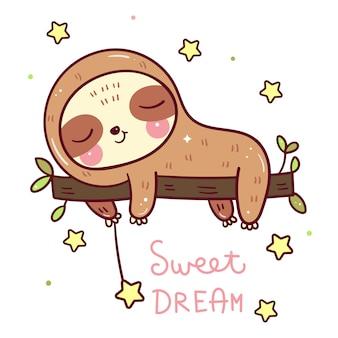 Schattige luiaard beer cartoon slapen op boom