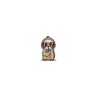 Schattige luiaard met zonnebril drinkwater cartoon