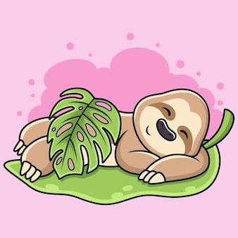 Schattige luiaard slaperig met blad cartoon.