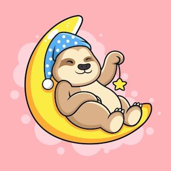 Schattige luiaard slaperig op maan cartoon.