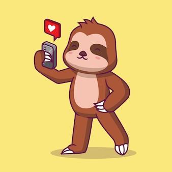 Schattige luiaard spelen telefoon cartoon afbeelding