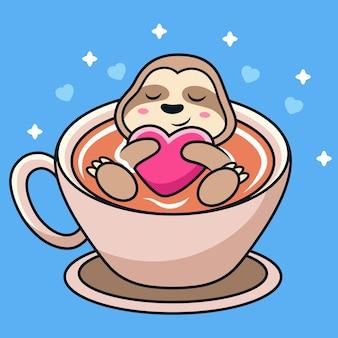 Schattige luiaard zwemmen op een kopje koffie met liefde.