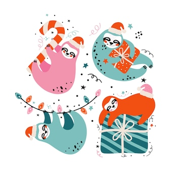 Schattige luiaards in kerstmuts met cadeau, snoep, feestelijke elementen. prettige kerstdagen en gelukkig nieuwjaarskaart