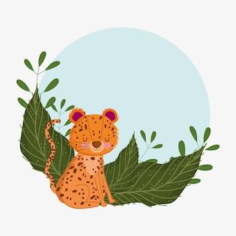 Schattige luipaard met bladeren