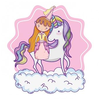 Schattige magische prinses cartoon