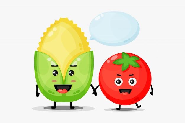 Schattige maïs en tomaat mascotte hand in hand
