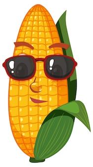 Schattige maïs stripfiguur met gezichtsuitdrukking op witte achtergrond