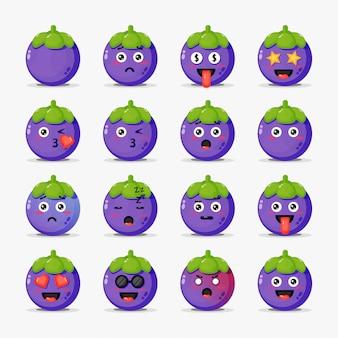 Schattige mangosteen met emoticons set