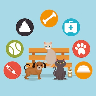 Schattige mascottes en dierenwinkel pictogrammen