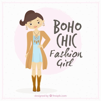 Schattige meisje draagt boho chic kleren