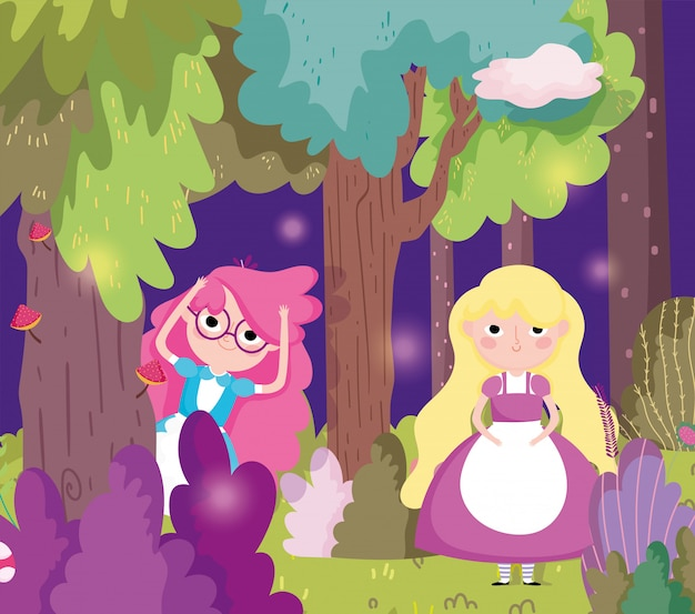 Schattige meisjes in het bos