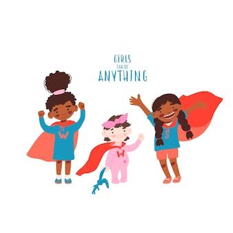 Schattige meisjes in superheldenkostuum