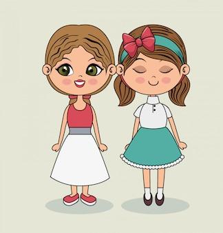 Schattige meisjes mode kleding schoonheid