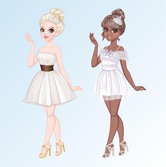 Schattige meisjes poses en elegantie jurken stijl
