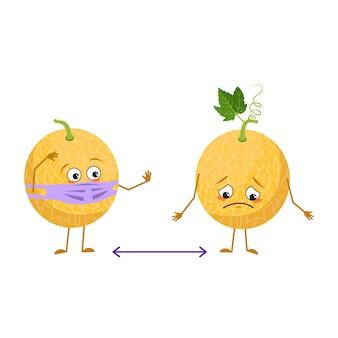 Schattige meloenkarakters met emoties, gezicht en masker houden afstand, armen en benen. de grappige of droevige held, fruit met ogen. platte vectorillustratie