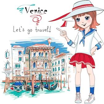 Schattige mode meisje in venetië, italia.