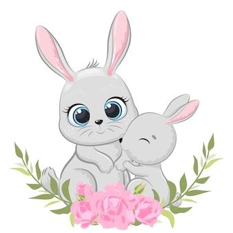 Schattige moeder konijn en baby met bloemen en een krans. vectorillustratie van een tekenfilm.