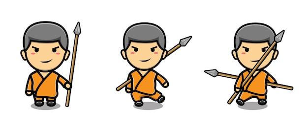 Schattige monnik shaolin mascotte cartoon