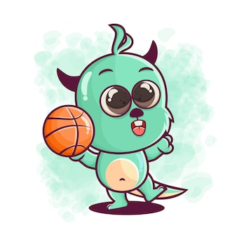 Schattige monster cartoon basketbal spelen