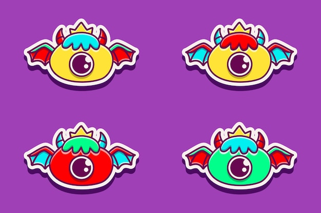 Schattige monster cartoon doodle sticker illustratie