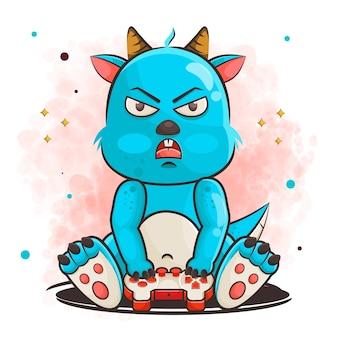 Schattige monster cartoon karakter speelspel illustratie