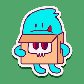 Schattige monster doodle sticker