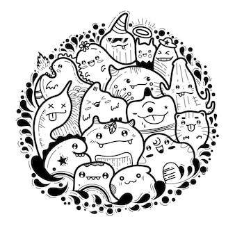 Schattige monster doodles
