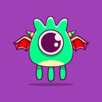Schattige monster karakter doodle illustratie