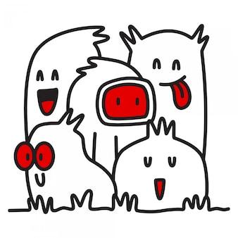 Schattige monster karakter sjablonen