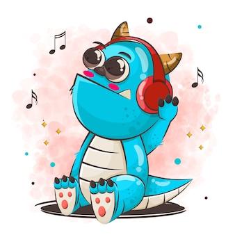 Schattige monster stripfiguur luisteren muziek illustratie