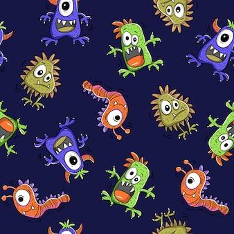 Schattige monsters naadloze patroon
