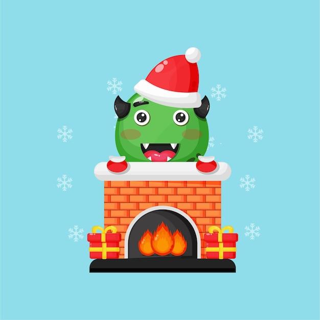 Schattige monsters op de kerstschoorsteen open haard