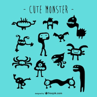Schattige monsters vector set