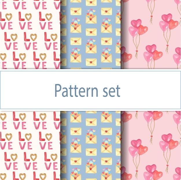 Schattige mooie naadloze patroon set