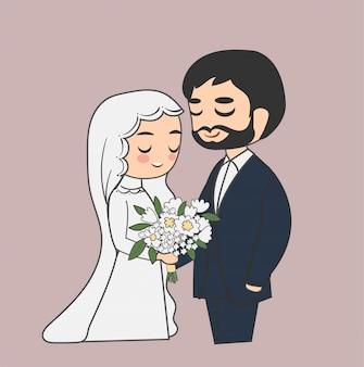 Schattige moslim bruidspaar doodle cartoon