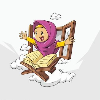 Schattige moslim cartoon met hijab en koran