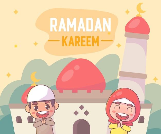 Schattige moslimjongen en -meisje die ramadan kareem islamitisch begroeten