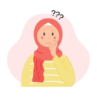 Schattige moslimvrouw vraag stellen