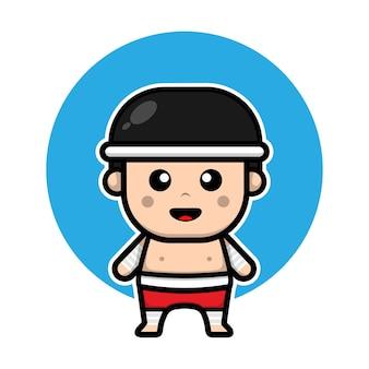 Schattige muay thai bokser stripfiguur