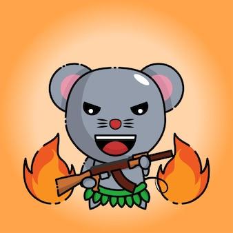 Schattige muis houdt ak 47 vast met vlammen erachter