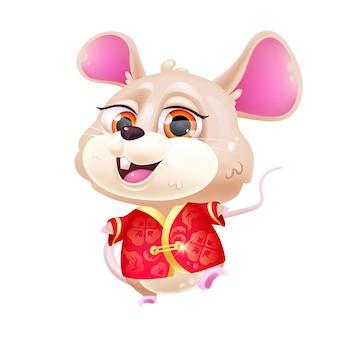 Schattige muis kawaii stripfiguur. chinees nieuwjaar 2020. schattig en grappig dier in nationale rode kostuum geïsoleerde sticker, patch. anime baby rat emoji op witte achtergrond