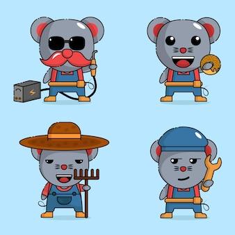 Schattige muis mascotte karakter