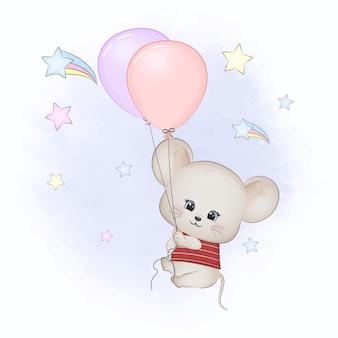 Schattige muis met ballonnen in de lucht