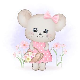 Schattige muis met bloemen in mand