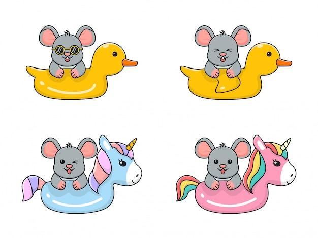 Schattige muis met zwemring eend en eenhoorn