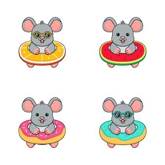 Schattige muis met zwemring oranje, watermeloen en donut