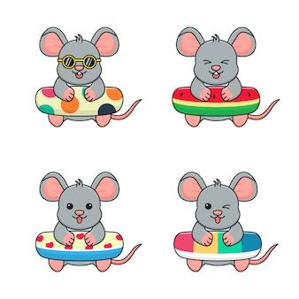 Schattige muis met zwemring stippen, watermeloen, liefde en regenboog Premium Vector