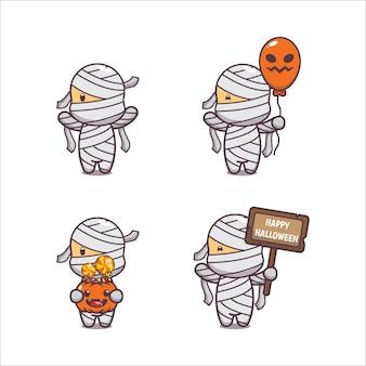 Schattige mummie halloween cartoon afbeelding schattige halloween cartoon vector afbeelding