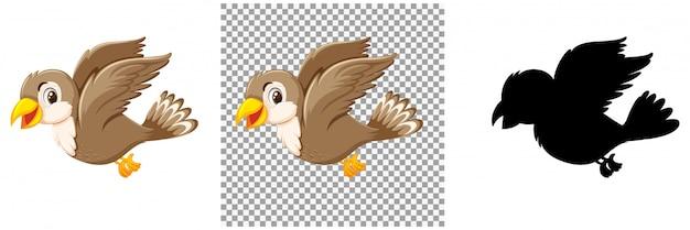 Schattige mus vogel stripfiguur