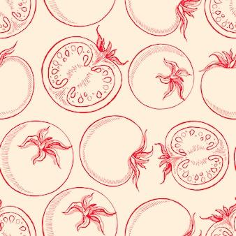 Schattige naadloze achtergrond met schets tomaten